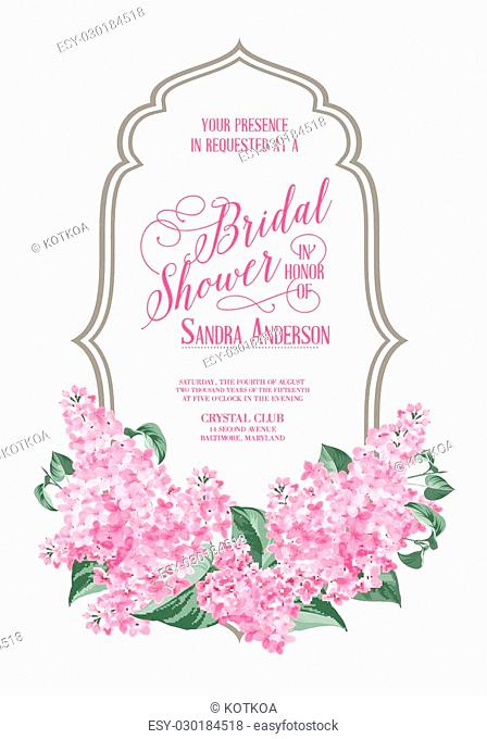 Marriage invitation card with lilac Garland. and calligraphic text. Vector illustration