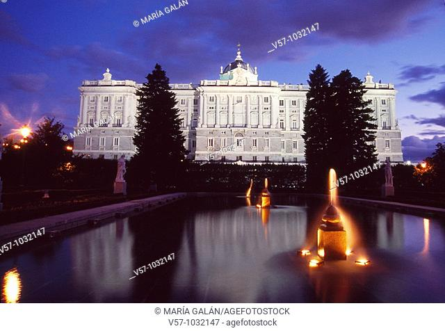 Royal Palace from Sabatini gardens, night view. Madrid, Spain