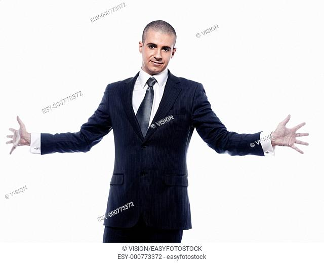 caucasian man businessman welcoming open arms portrait isolated studio on white background