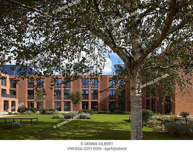 View across garden towards new wing. Newnham College, Cambridge, Cambridge, United Kingdom. Architect: Walters and Cohen Ltd, 2018