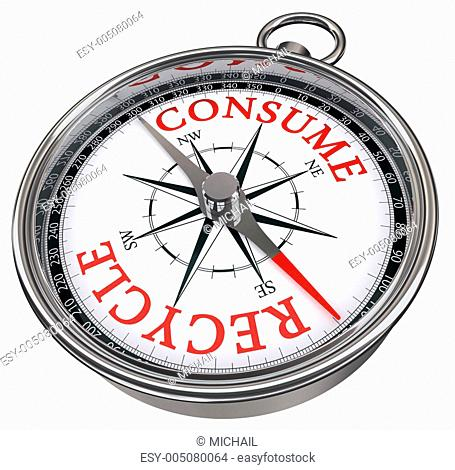 recycle versus consume concept compass