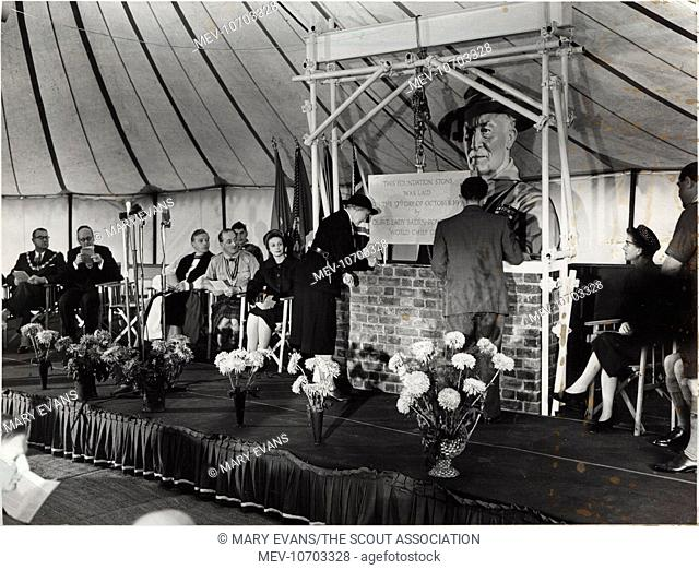 Lady Olave Baden Powell laying the foundation stone for the new Baden Powell House in Queen's Gate, South Kensington, London