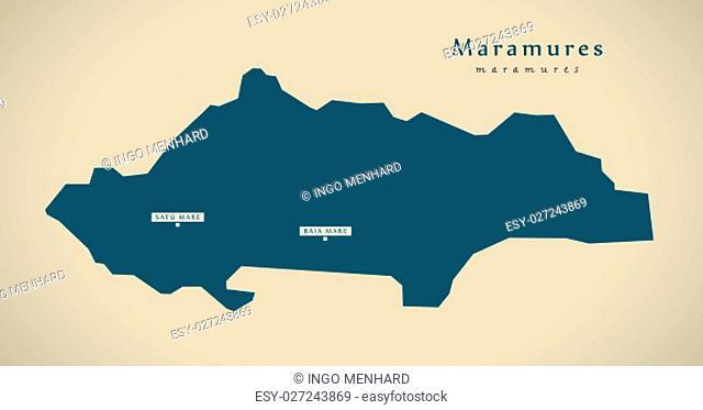 Modern Map - Maramures Romania RO illustration