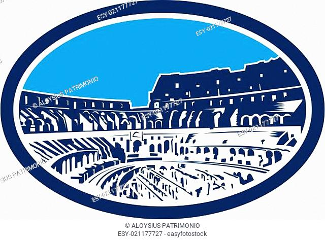 Coliseum Colosseum Rome Oval Woodcut