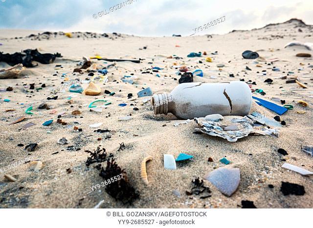 Trash on Beach - South Padre Island, Texas, USA