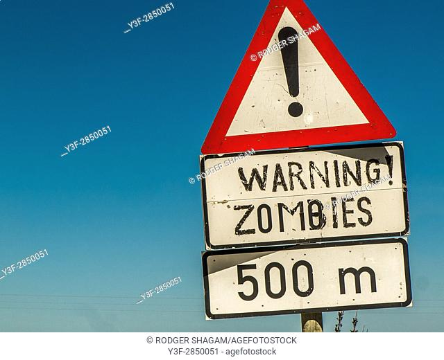 Roadside signage. Zombie warning!
