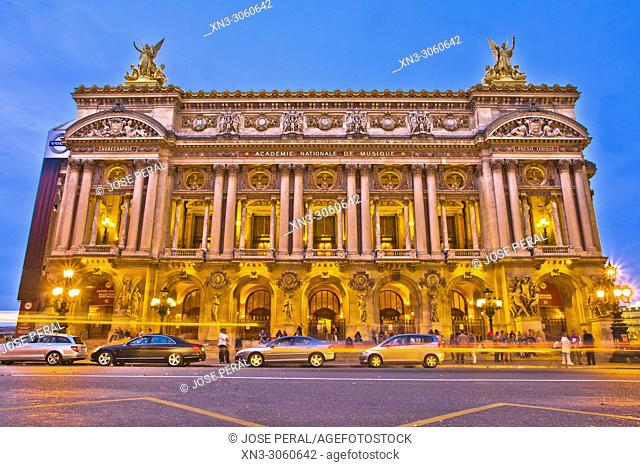 Palais Garnier, opera house, Opéra Garnier or Opéra de Paris, Facade, Boulevard des Capucines, 9th arrondissement, Paris, France, Europe