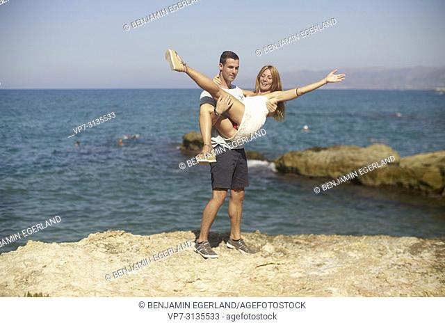 Couple in summer holiday. Crete, Greece