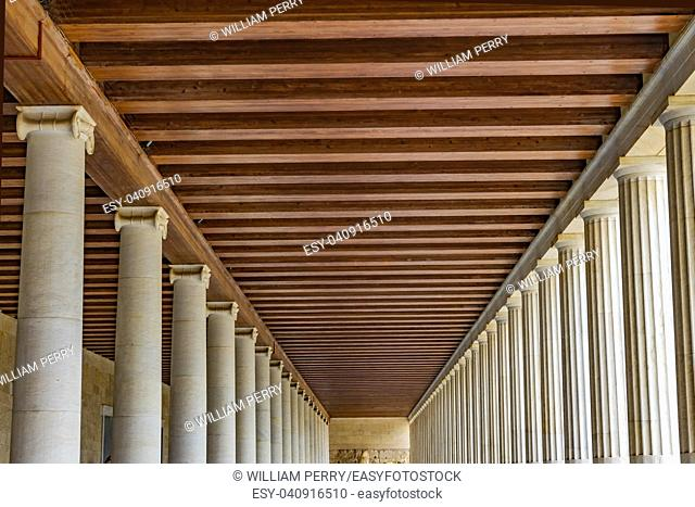 Ancient Agora Market Place Stoa of Attalos Athens Greece. Agora founded 6th Century BC. Stoa built in 150 BC, rebuilt early 1950s