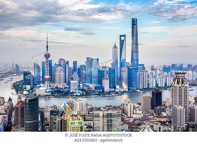 China, Shanghai City,The Bund and Pudong district skyline, Huangpu River