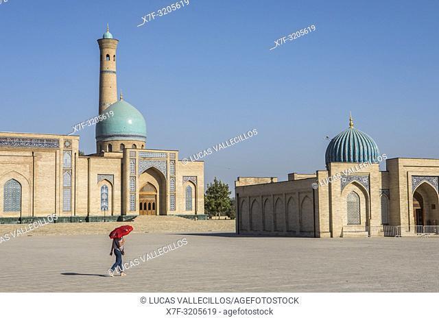At left Hazroti Imom Friday Mosque and at right Moyie Mubarek Library Museum, Tashkent, Uzbekistan