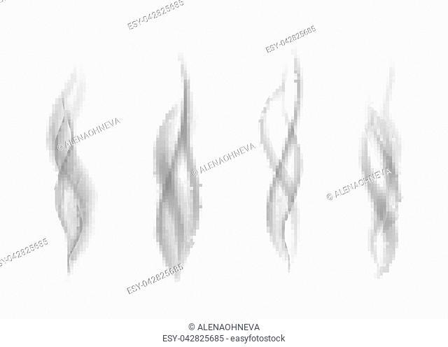 Gray cigarette smoke isolated on white background. Dark steam. Realistic smog vector texture