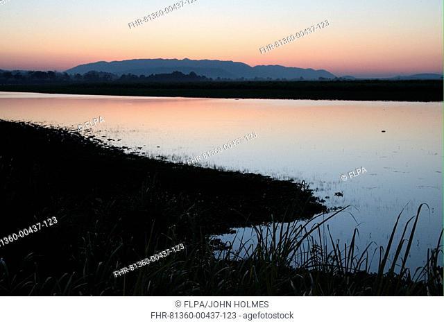 Sunset over wetland habitat, Kaziranga N P , Assam, India, november
