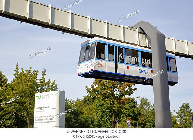 Dortmund, D-Dortmund, Ruhr area, Westphalia, North Rhine-Westphalia, NRW, TU Dortmund University, H-Bahn, Haengebahn, hanging railway between Campus North and...