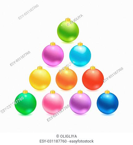 Christmas balls set. realistic colorful balls made in vector