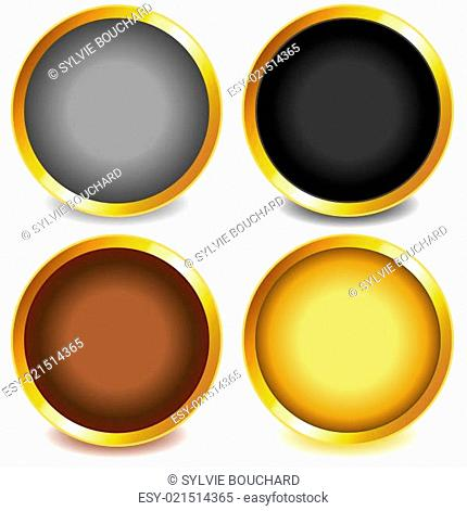 Colorful buttons with gold bevel-set3