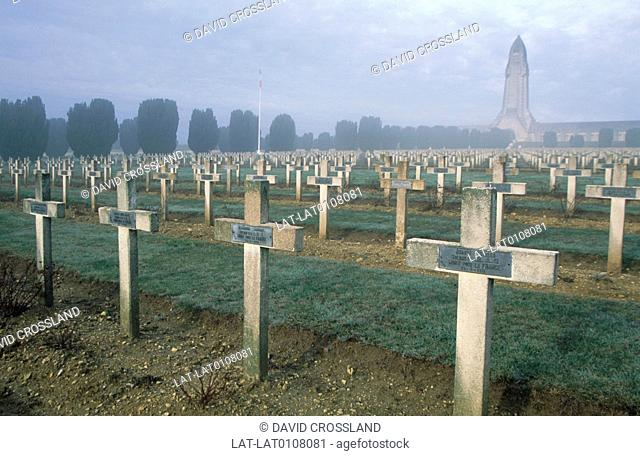 The Douaumont battlefield of World War 1 and the cemetery with graves of the war dead. Memorial monument