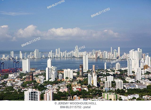 Aerial view of Cartagena skyline, Cartagena, Colombia