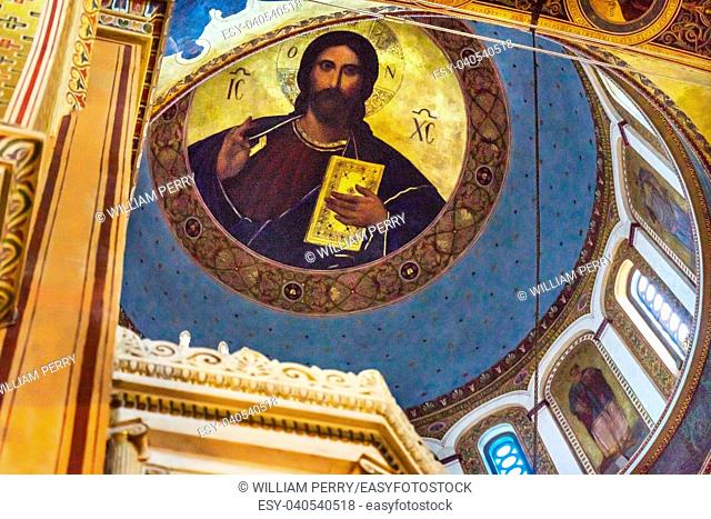 Metropolitan Basilica Chrrist Dome Cathedral Athens Greece. Built in 1842, Main Greek Orthodox Church in Atens