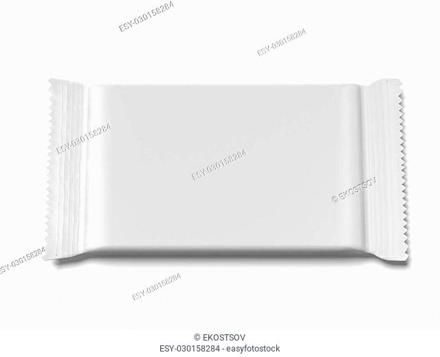 Blank Foil package isolated on a white background. 3d render