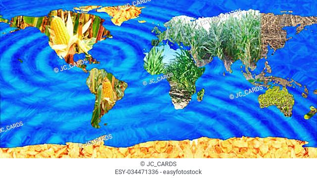 Continents from maize with waves
