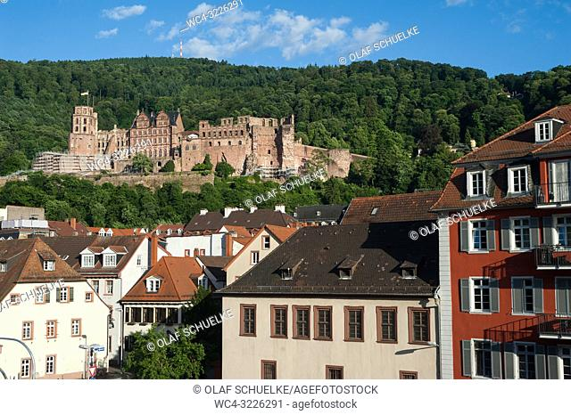 Heidelberg, Germany, Europe - View of the old city and the Heidelberg Castle, the city's landmark