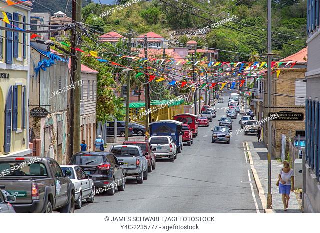 Dronningens Gade or Main Street in Charlotte Amalie on the Caribbean island of St Thomas in the US Virgin Islands