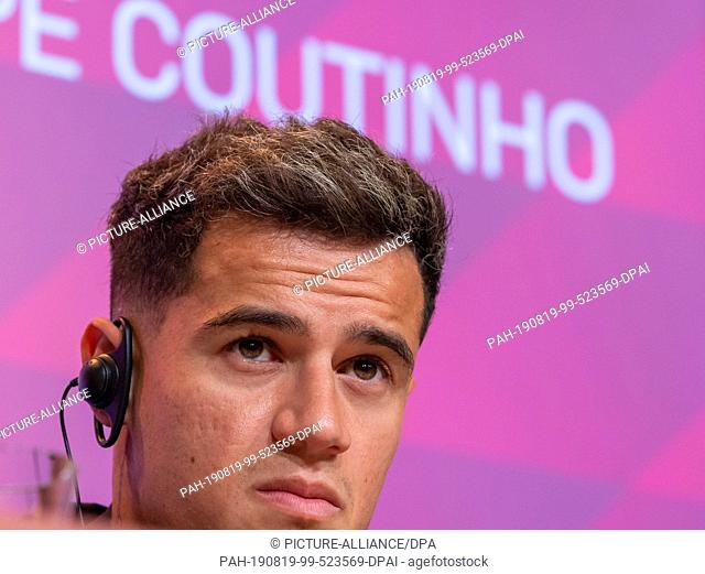 19 August 2019, Bavaria, Munich: Philippe Coutinho takes part in the press conference for his presentation at FC Bayern Munich