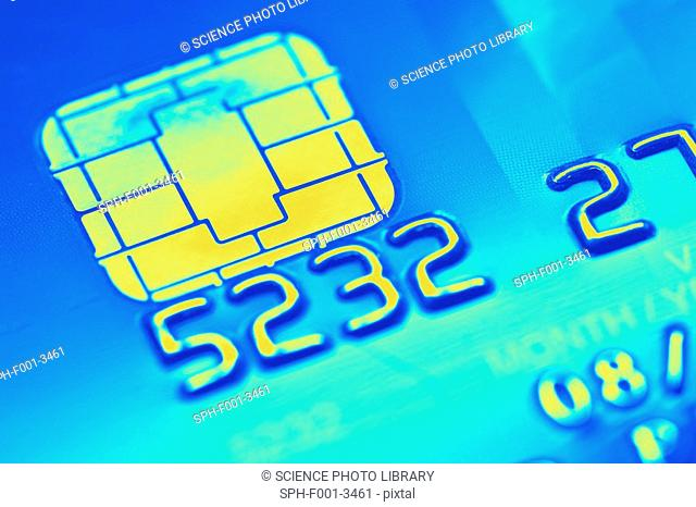 Credit card microchip, computer artwork