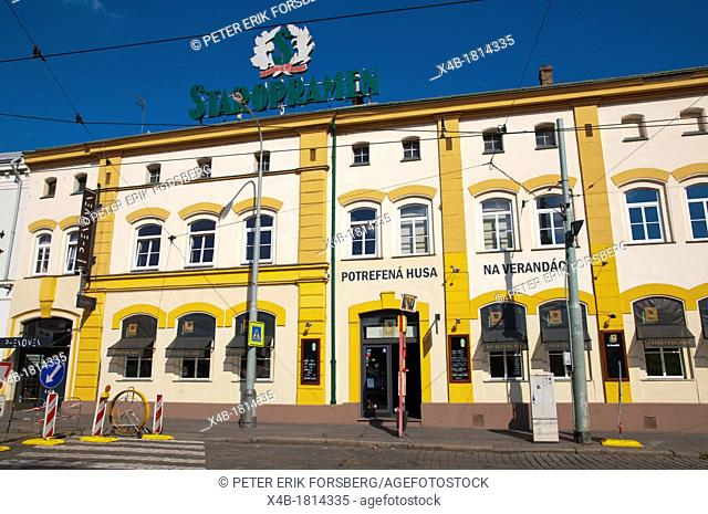 Staropramen brewery exterior with Potrefena Husa chain restaurant Smichov district Prague Czech Republic Europe