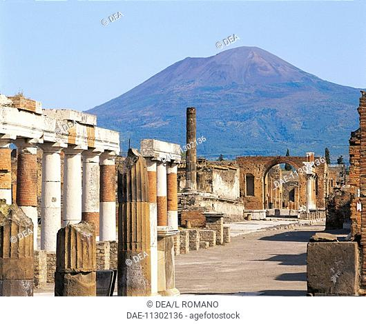Columns of an old building, Forum with Building of Eumachia and Honorary Arch, Pompeii, Campania Region, Italy