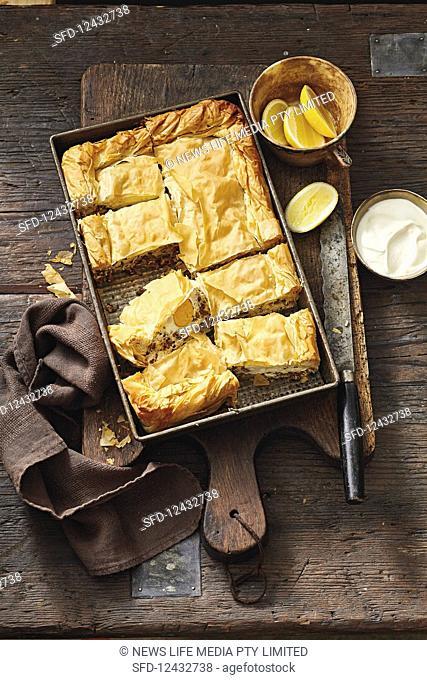 Turkish lamb ricotta and egg filo pie