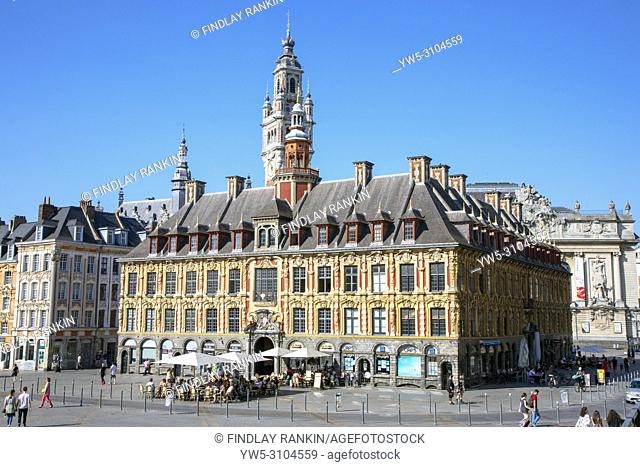 La Vielle Bourse de Lille, originally the Chamber of Commerce building, situated in Grand Place near to Place du general de Gaulle, now housing cafes