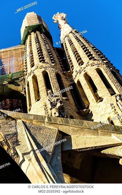 Basilica of Sagrada Familia (by architect Antoni Gaudi) in Barcelona, Catalonia, Spain