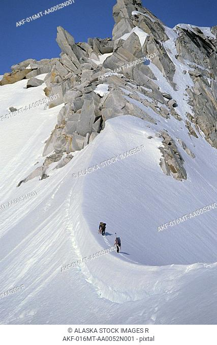 Climbers On Ridge to Summit Pika Glacier Area AK Range