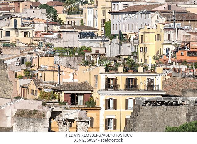 Rome, Italy- View of Roman architecture rooftops in the city of Rome
