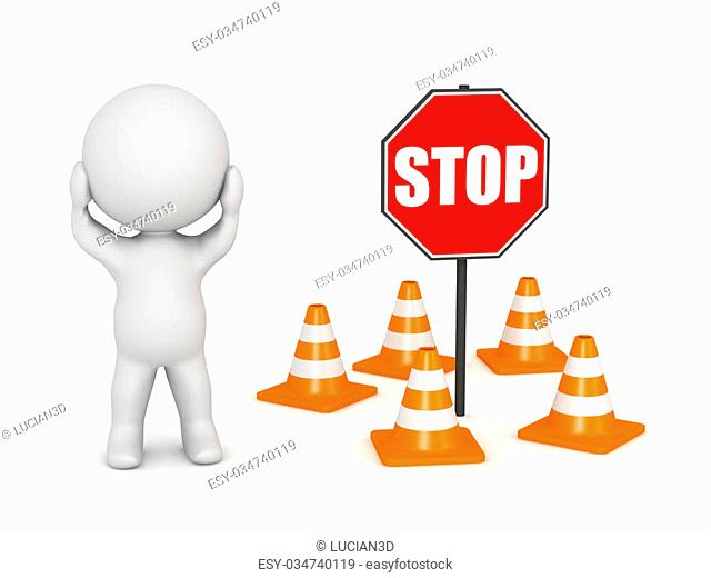 3D character, orange road cone barriers and a stop sign. Isolated on white background