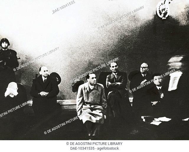 Emilio De Bono, Luciano Gottardi, Galeazzo Ciano, Carlo Pareschi, Giovanni Marinelli and Tullio Cianetti during the Verona trials, January 8-10, 1944, Italy