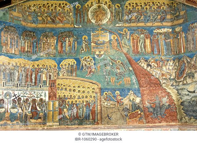 Church of St George of the Voronet Monastry, exterior wall paintings representing the biblical scene The Last Judgment, UNESCO World Heritage Site