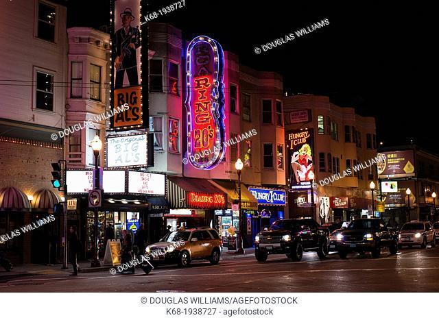 Broadway at night, San Francisco, California, USA
