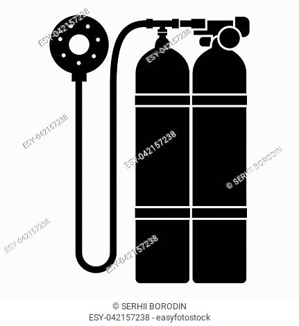 Aqualung scuba icon black color vector illustration flat style simple image