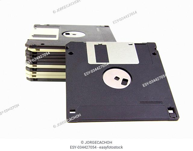 Old diskettes isolated on a white background