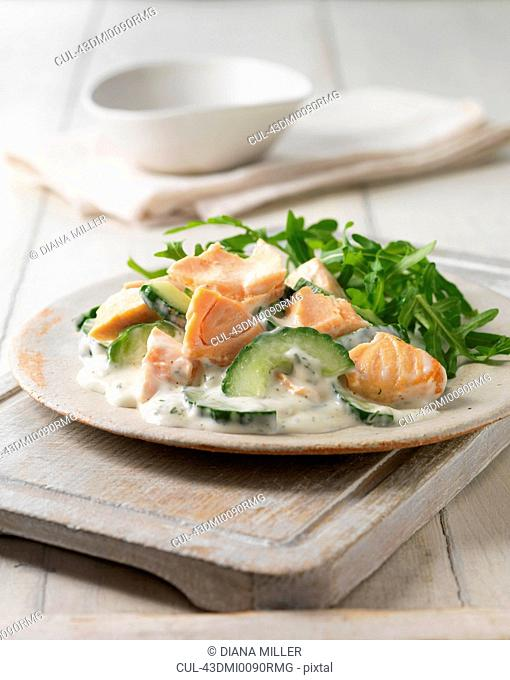 Plate of salmon with dill mayonnaise