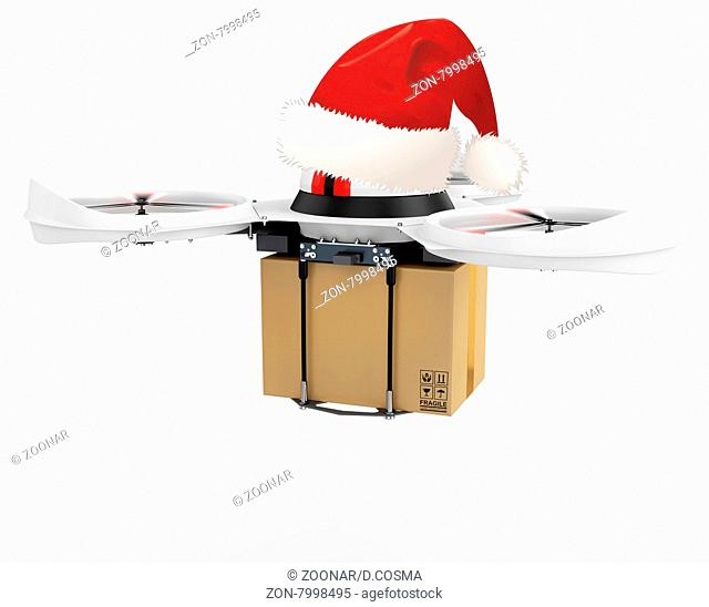 3d delivery drone with red santa's hat on white background