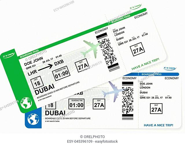 Illustration of airplane boarding pass. Blue and green flight coupon. Vector airline ticket