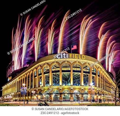 New York Mets Citi Field Fireworks - Exterior view to Citi Field Stadium post game fireworks display. Citi field is home to the New York City Mets National...