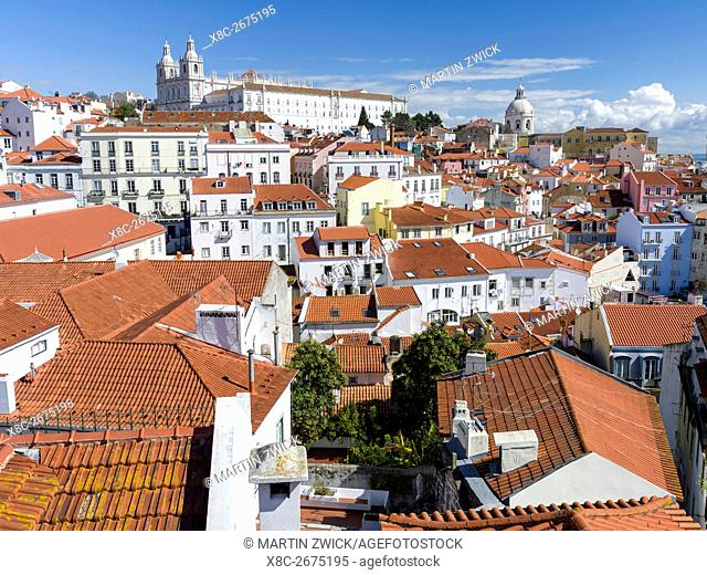 View over the sea of houses of the Alfama, the old town dating back to moorish times. Lisbon (Lisboa) the capital of Portugal