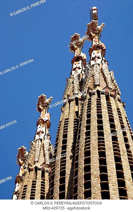 Bell towers of the Sagrada Familia church, by Gaudi. Barcelona. Spain