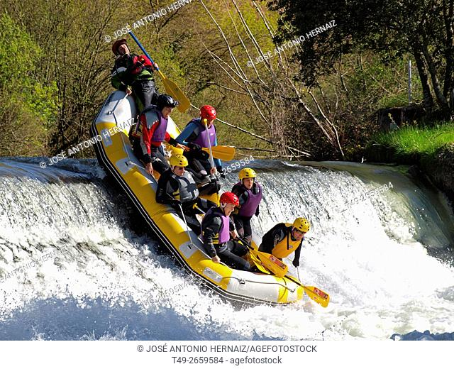 Iregua river rafting passing through Viguera La Rioja (Spain)