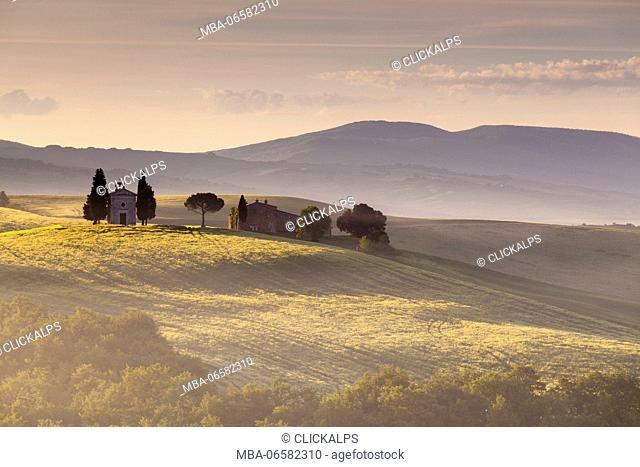 Vitaleta chapel, Pienza, Orcia valley, Tuscany, Italy, Sunrise